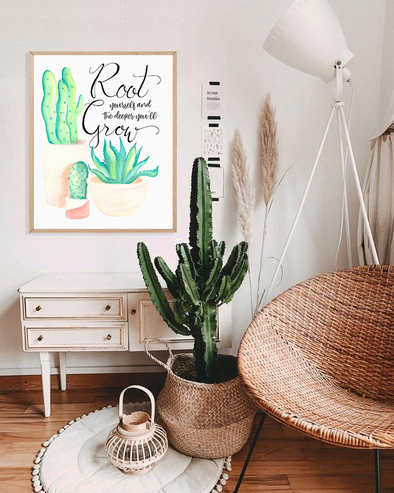 Root and Grow Deeper Urban Jungalow Plant Art Home Decor