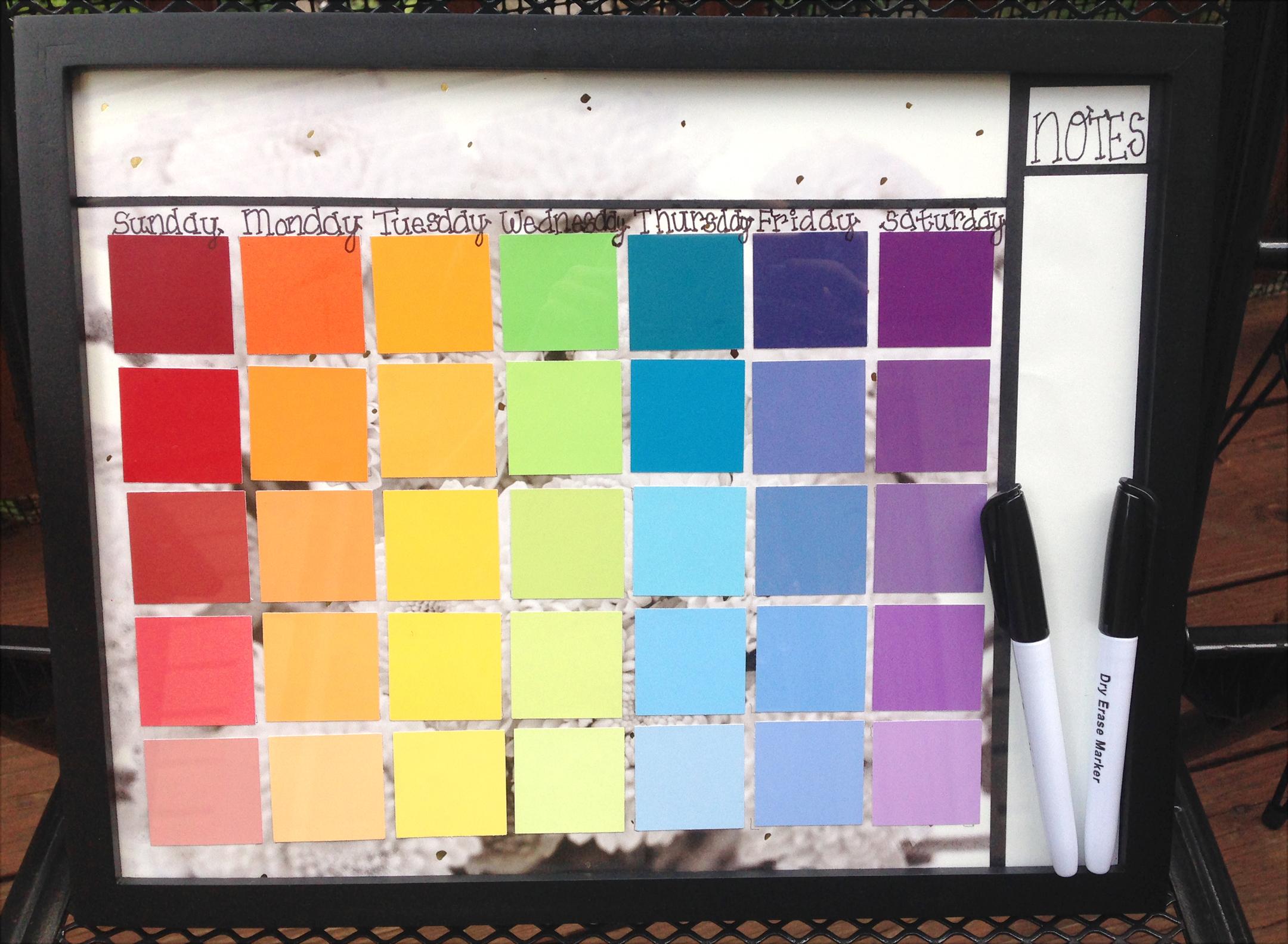 DIY Dry Erase Calendar with Paint Samples